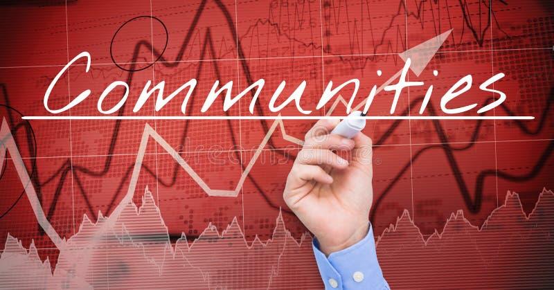 COMUNITÀ di scrittura della mano dell'uomo d'affari sullo schermo Mercato azionario, fondo rosso immagine stock libera da diritti