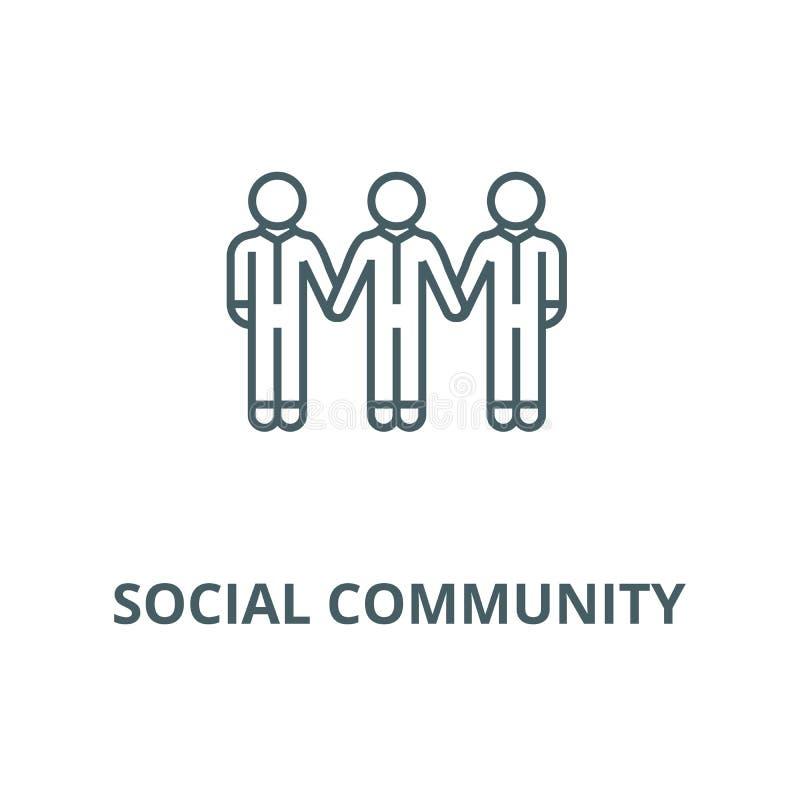Comunità sociale, linea icona, concetto lineare, segno del profilo, simbolo di vettore dei legami illustrazione vettoriale