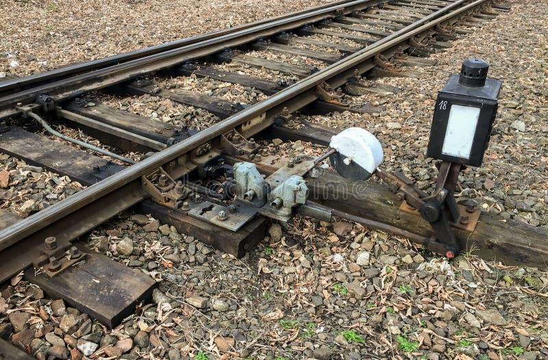 Comutador de via férrea acionado à mão fotografia de stock