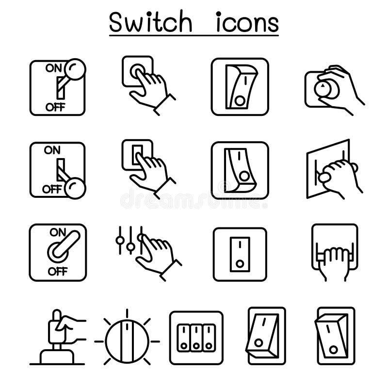 Comute o ícone ajustado na linha estilo fina ilustração do vetor