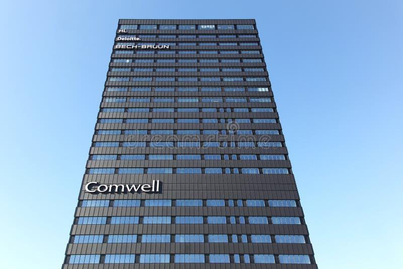 Comwell hotel in Aarhus, Denmark. Aarhus, Denmark - June 9, 2015: On July 1st 2014 the doors opened at 4-starred designer hotel, Comwell Aarhus. The hotel is stock photos
