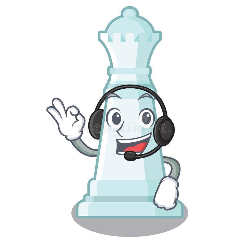 Con ajedrez de la reina del auricular en una silla de la historieta stock de ilustración