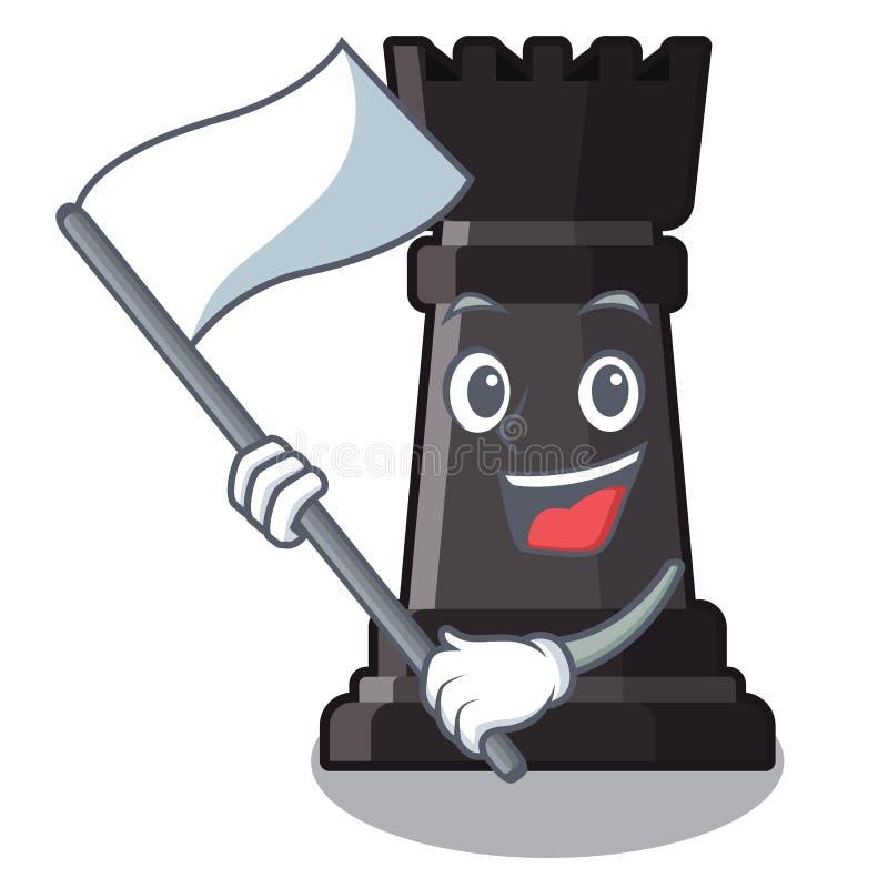 Con ajedrez del grajo de la bandera en una silla de la historieta libre illustration