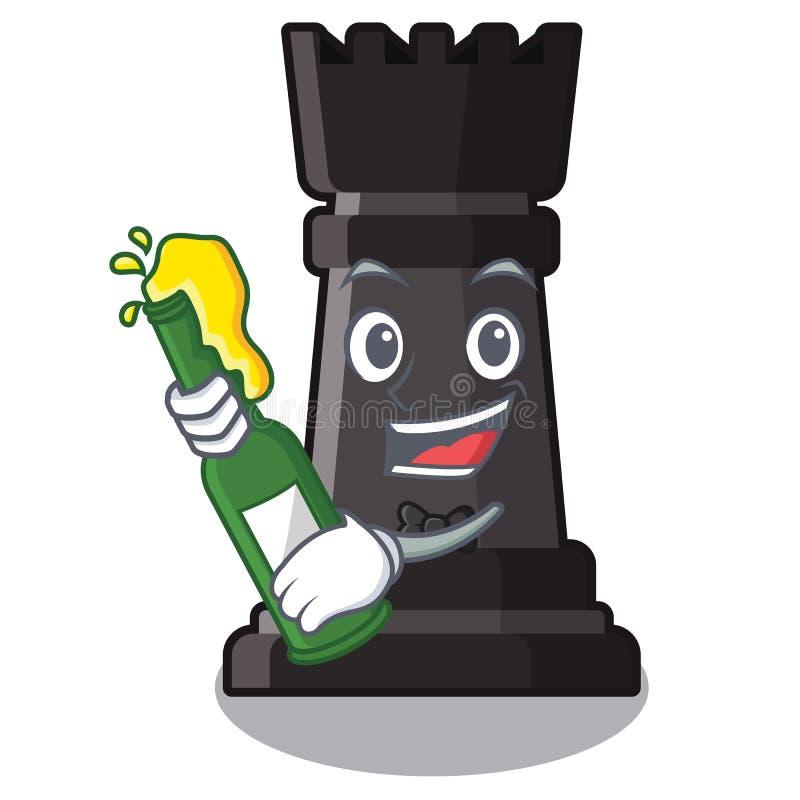 Con ajedrez del grajo de la cerveza en una silla de la historieta libre illustration