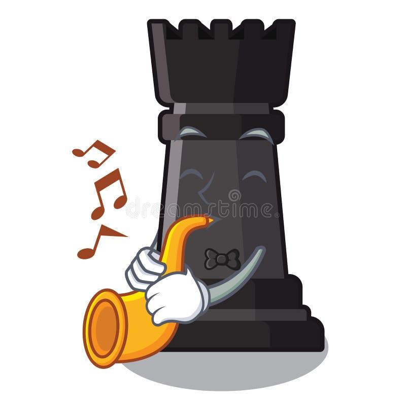 Con ajedrez del grajo de la trompeta en la forma de carácter ilustración del vector