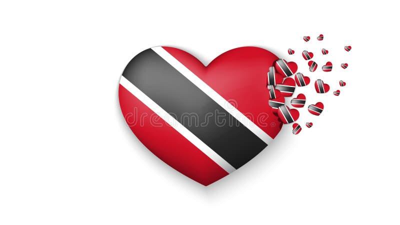Con amor al país de Trinidad and Tobago La bandera nacional de Trinidad and Tobago volar hacia fuera pequeños corazones en el fon ilustración del vector