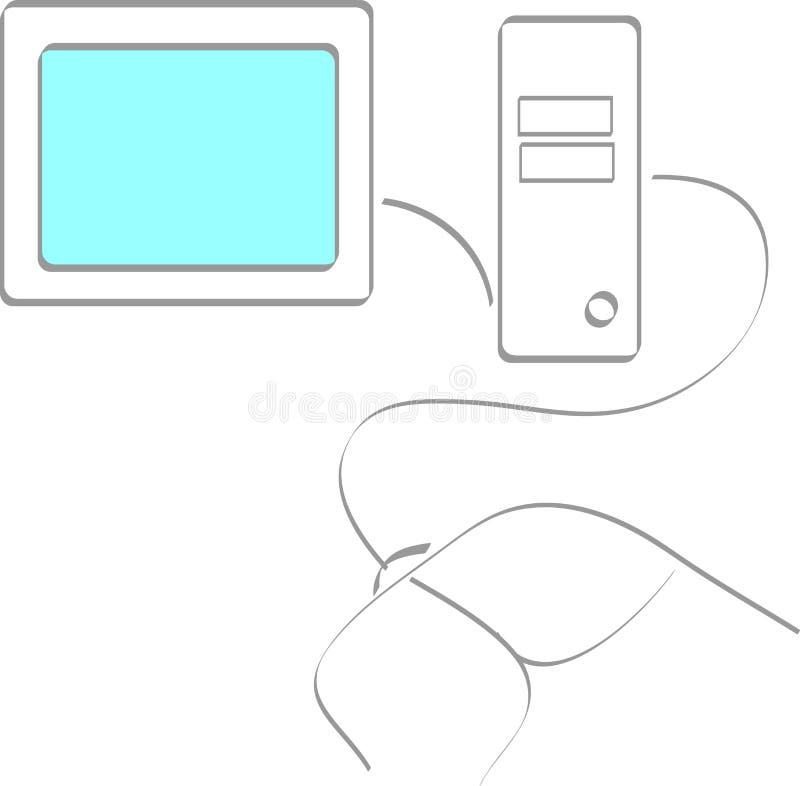 Con computer personale illustrazione di stock