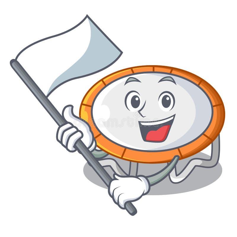Con el aislante de la bandera en mascota transparente de la forma del trampolín stock de ilustración