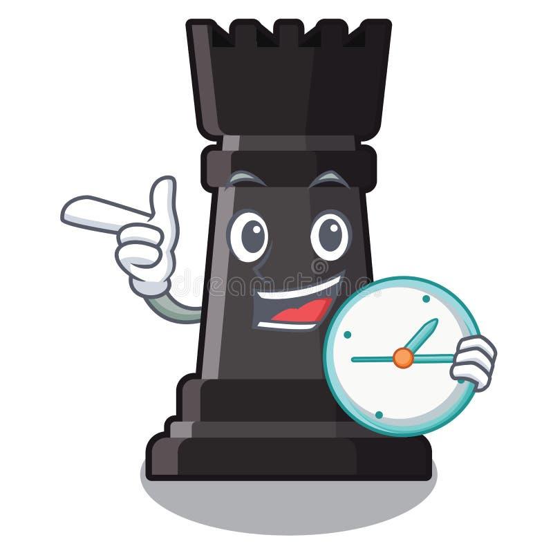 Con el ajedrez del grajo del reloj aislado en la mascota libre illustration