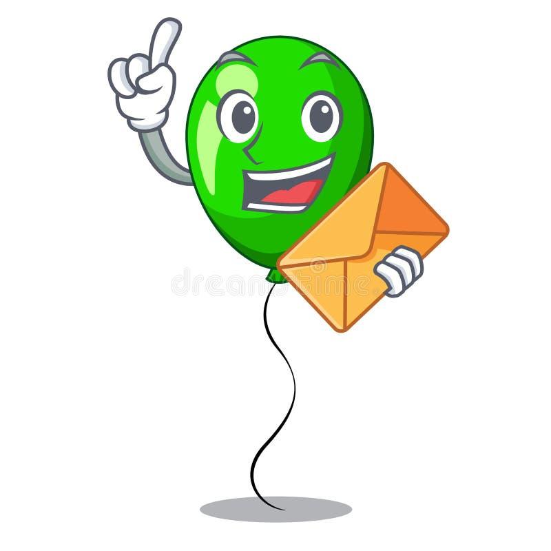 Con el baloon del verde del sobre en mascota de la esquina izquierda stock de ilustración