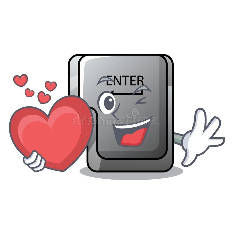 Con el botón del corazón entre aislado en la historieta libre illustration