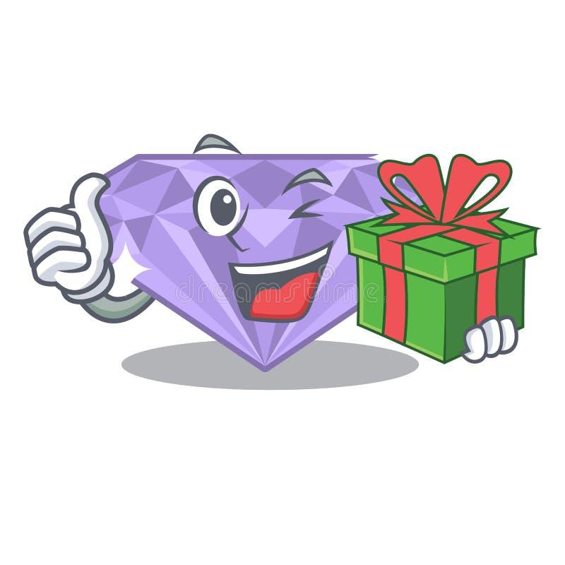 Con el diamante violeta del regalo en un bolso de la historieta ilustración del vector