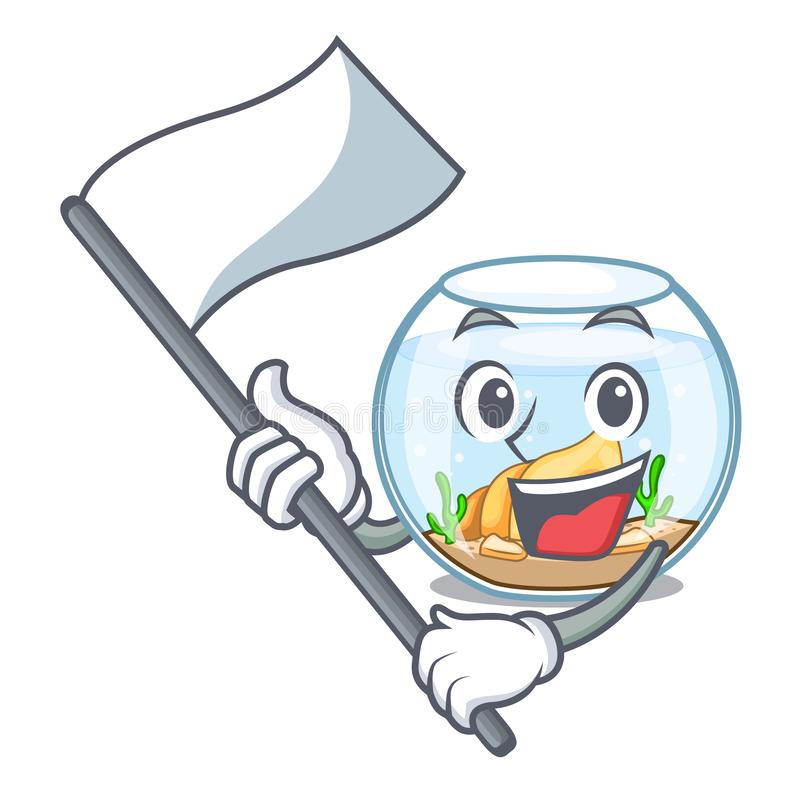 Con el fishbowl de la bandera en un divertido en historieta ilustración del vector