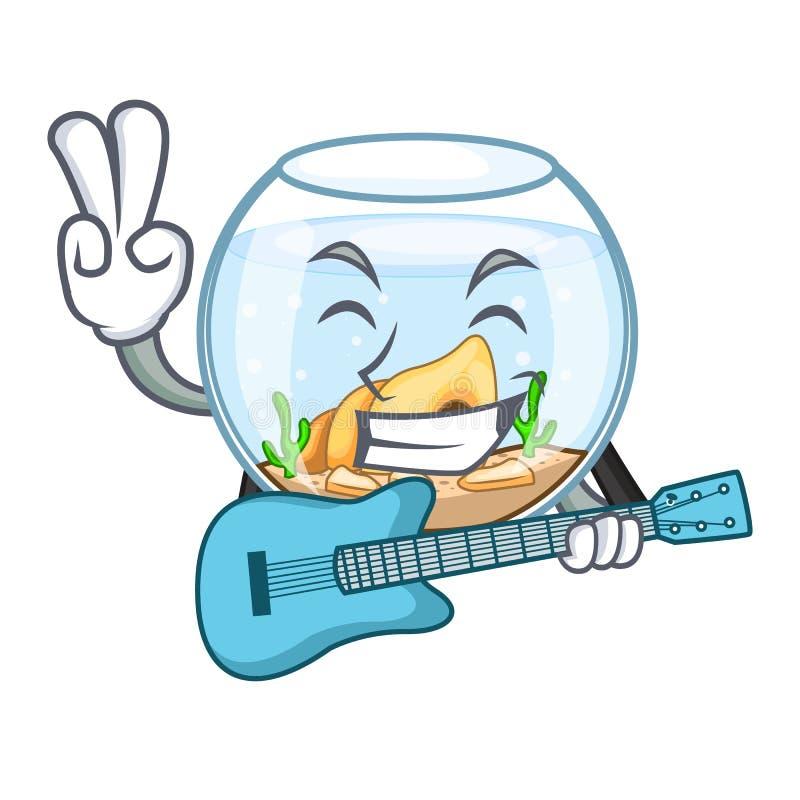 Con el fishbowl de la guitarra saltando fuera de en carácter stock de ilustración