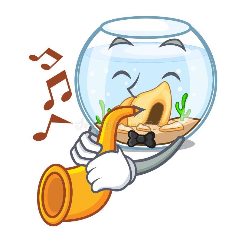 Con el fishbowl de la trompeta saltando fuera de en carácter stock de ilustración