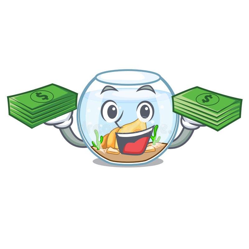 Con el fishbowl del dinero saltando fuera de en carácter libre illustration