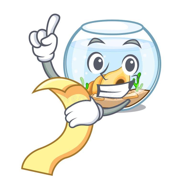 Con el fishbowl del menú saltando fuera de en carácter stock de ilustración