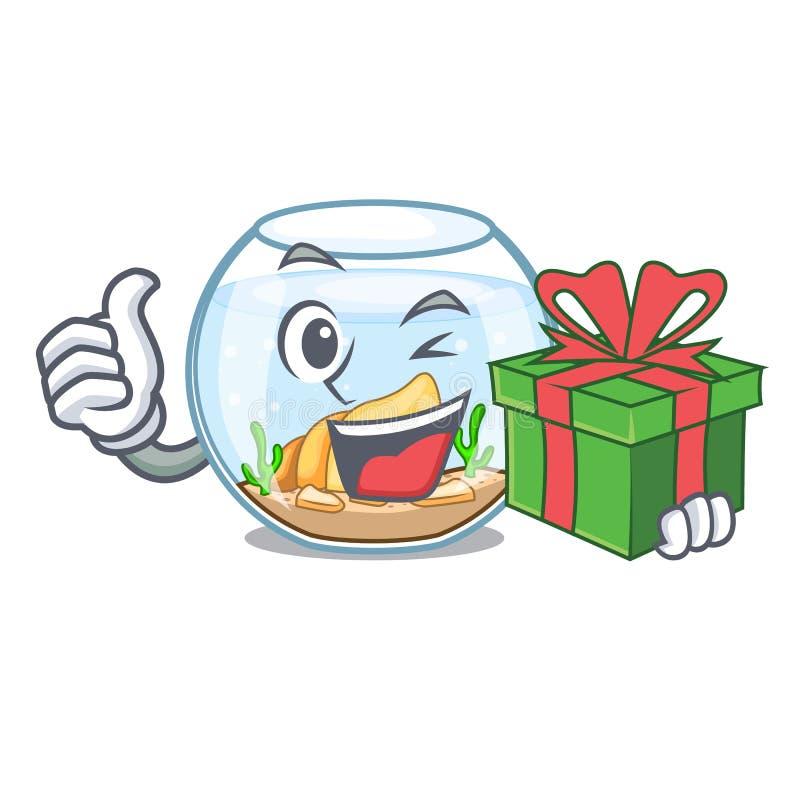 Con el fishbowl del regalo saltando fuera de en carácter libre illustration