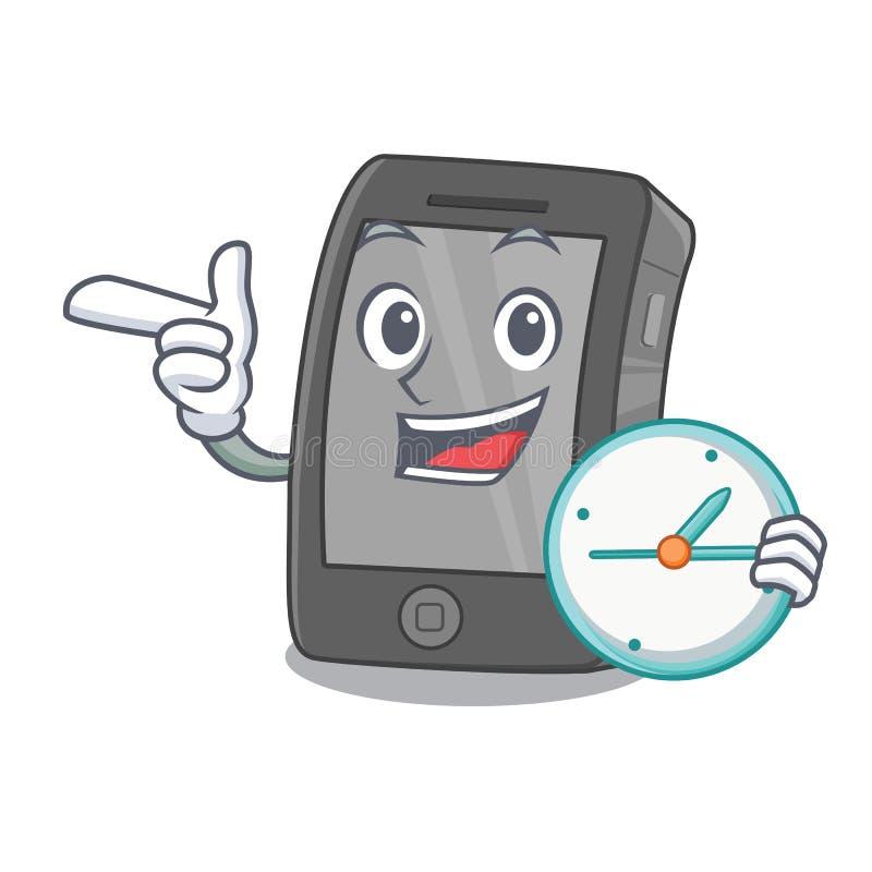 Con el ipad del reloj aislado con en el carácter stock de ilustración