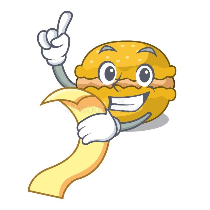 Con el plátano de los macarons del menú encendido en el carácter divertido libre illustration