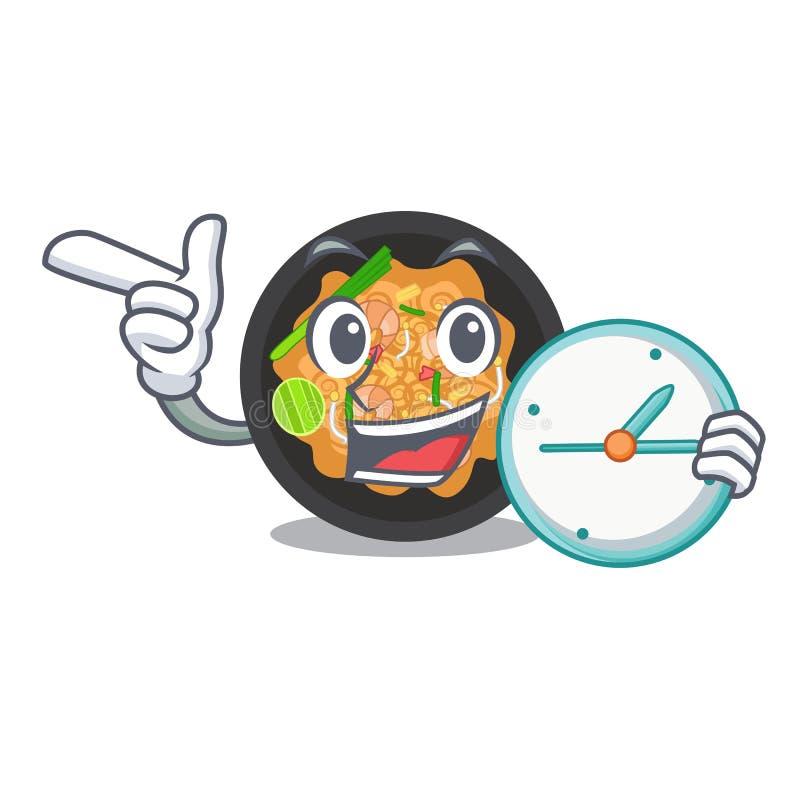 Con el reloj acaricie a tailandés sirvió en cuenco del carácter stock de ilustración