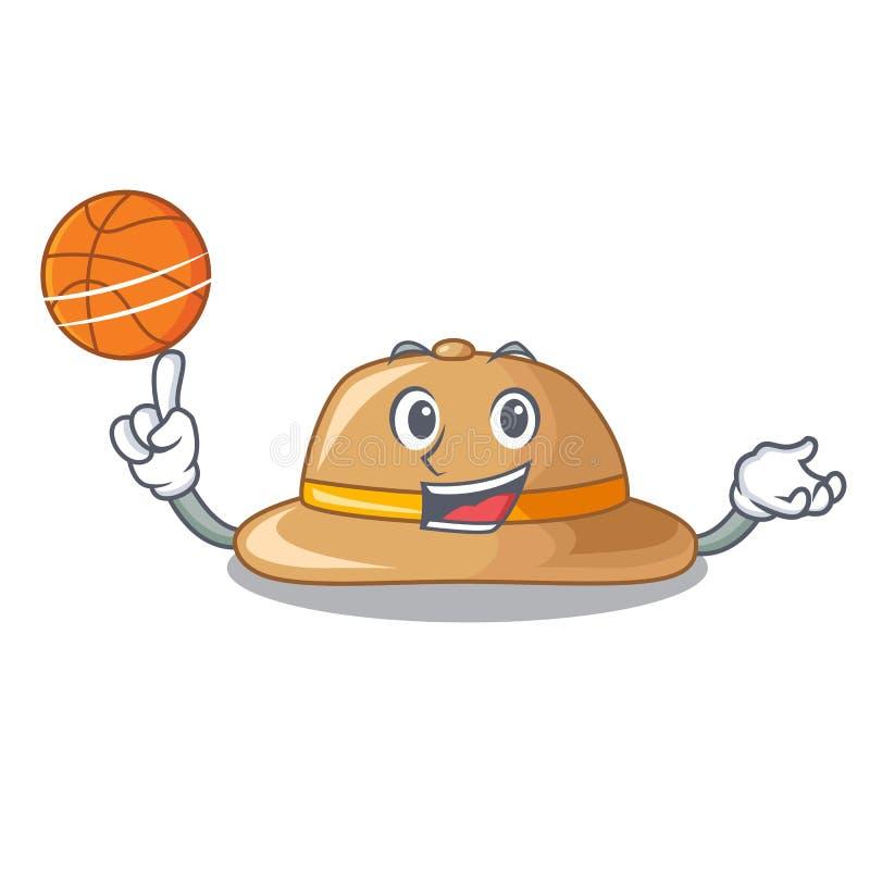 Con el sombrero del corcho del baloncesto aislado en la mascota ilustración del vector