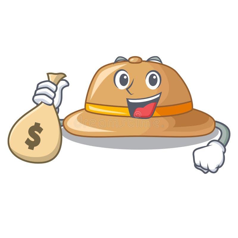Con el sombrero del corcho del bolso del dinero aislado en la mascota libre illustration
