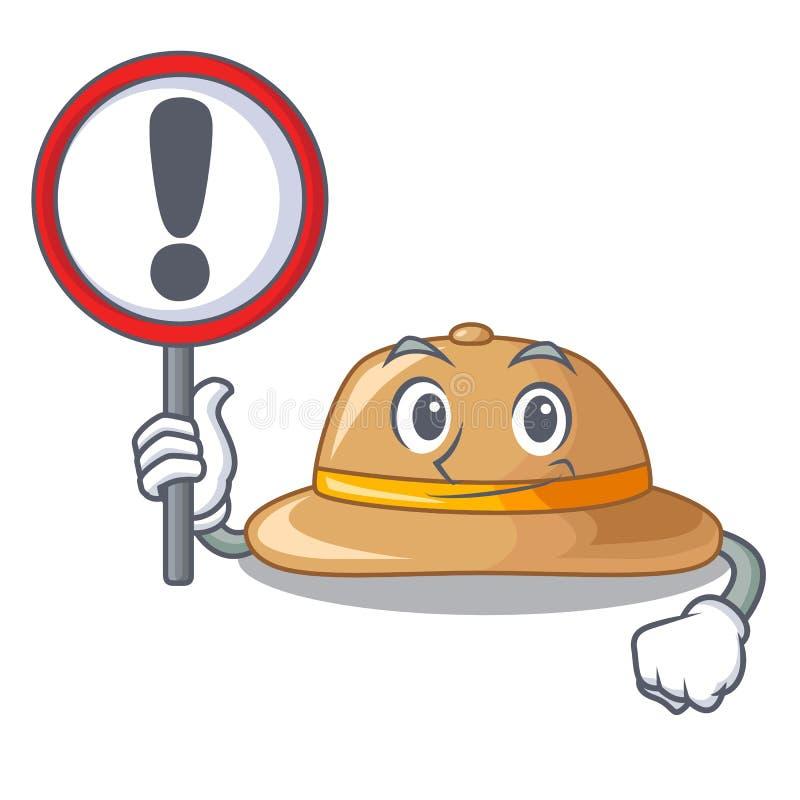 Con el sombrero del corcho de la muestra aislado en la mascota ilustración del vector
