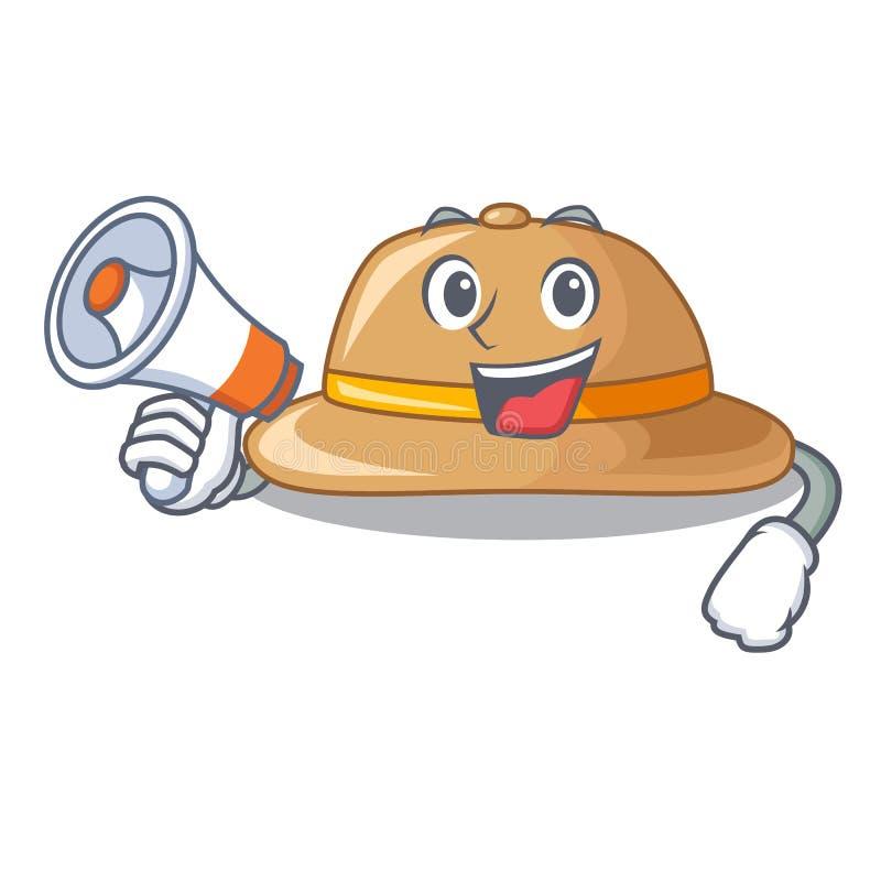 Con el sombrero del corcho del megáfono aislado en la mascota libre illustration