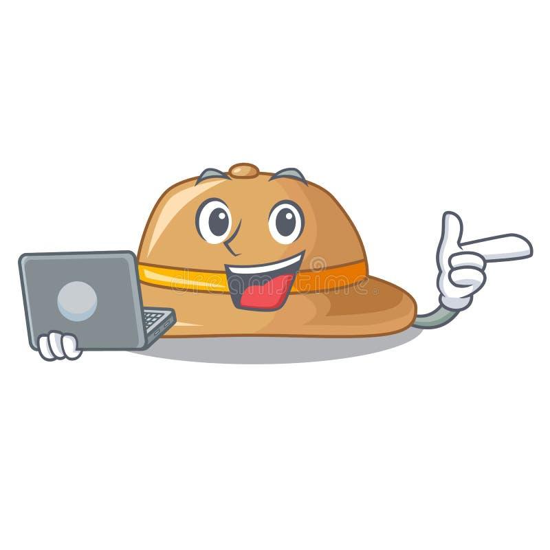 Con el sombrero del corcho del ordenador portátil aislado en la mascota stock de ilustración