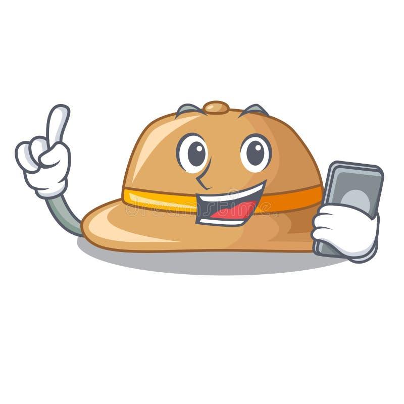 Con el sombrero del corcho del teléfono aislado en la mascota libre illustration
