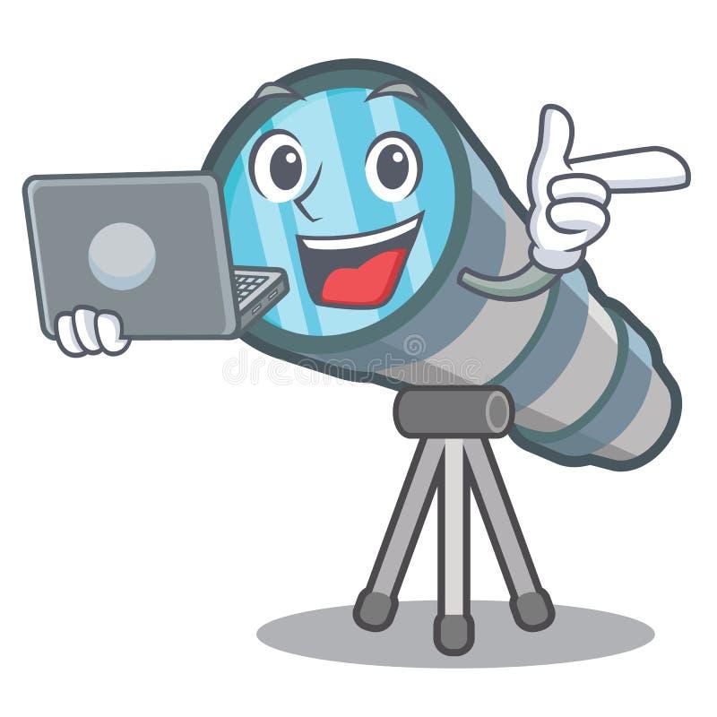 Con el telescopio del ordenador portátil aislado con en la mascota libre illustration