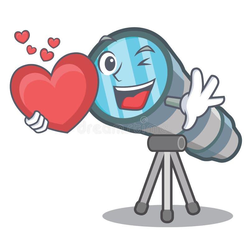 Con el telescopio miniatura del corazón sobre la tabla del carácter stock de ilustración