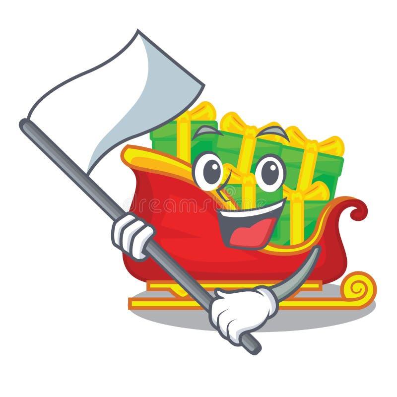 Con el trineo de Papá Noel de la Navidad de la bandera aislado en mascota stock de ilustración