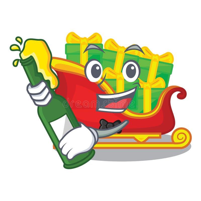Con el trineo de Papá Noel de la Navidad de la cerveza aislado en mascota libre illustration