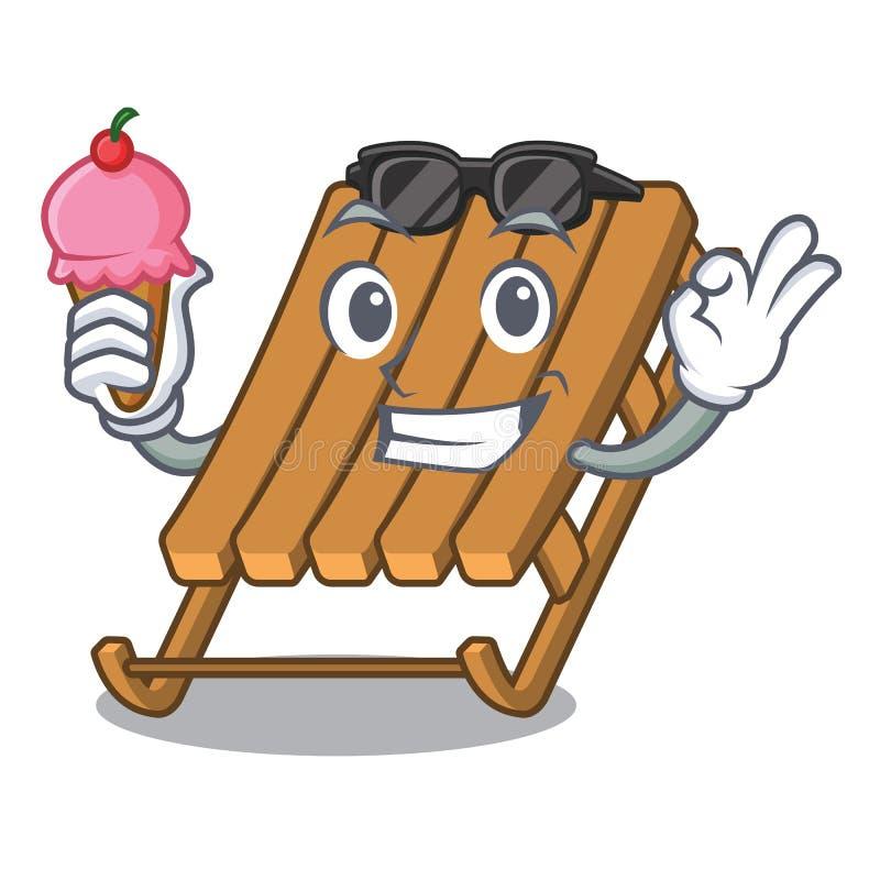 Con el trineo del hielo del helado en la historieta ilustración del vector