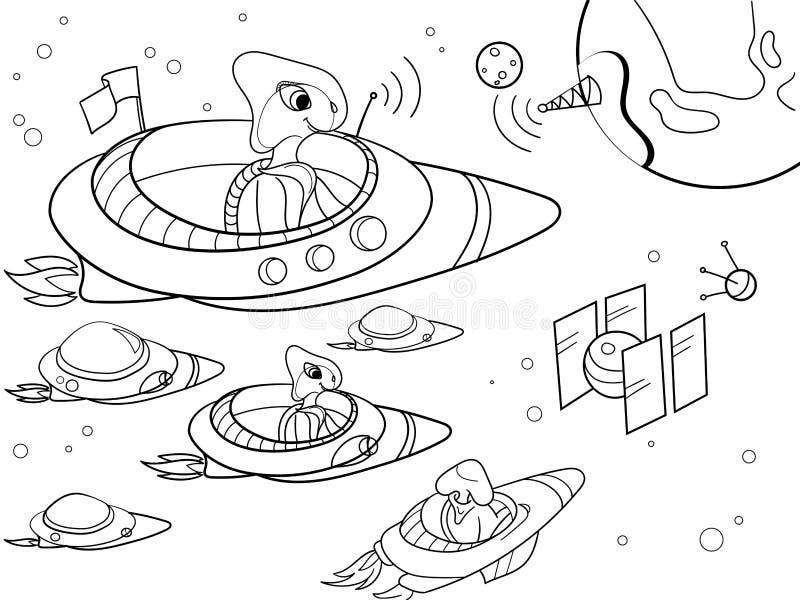Con el vector del colorante del espacio de los planetas para los adultos ilustración del vector