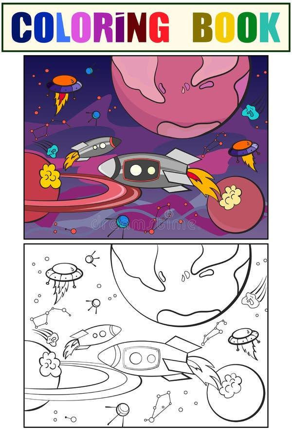 Con el vector del colorante del espacio de los planetas para los adultos stock de ilustración