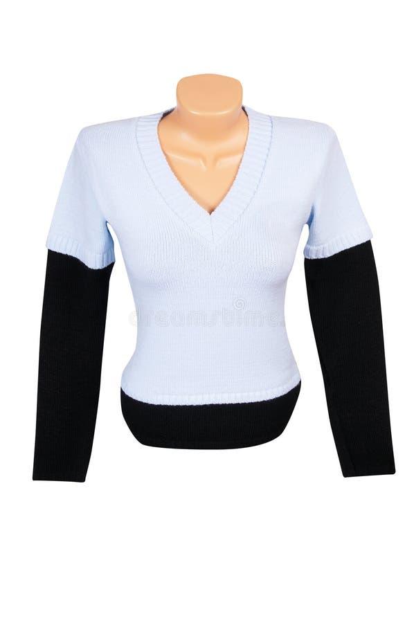 Con estilo caliente el chaleco y el suéter en un blanco imagen de archivo