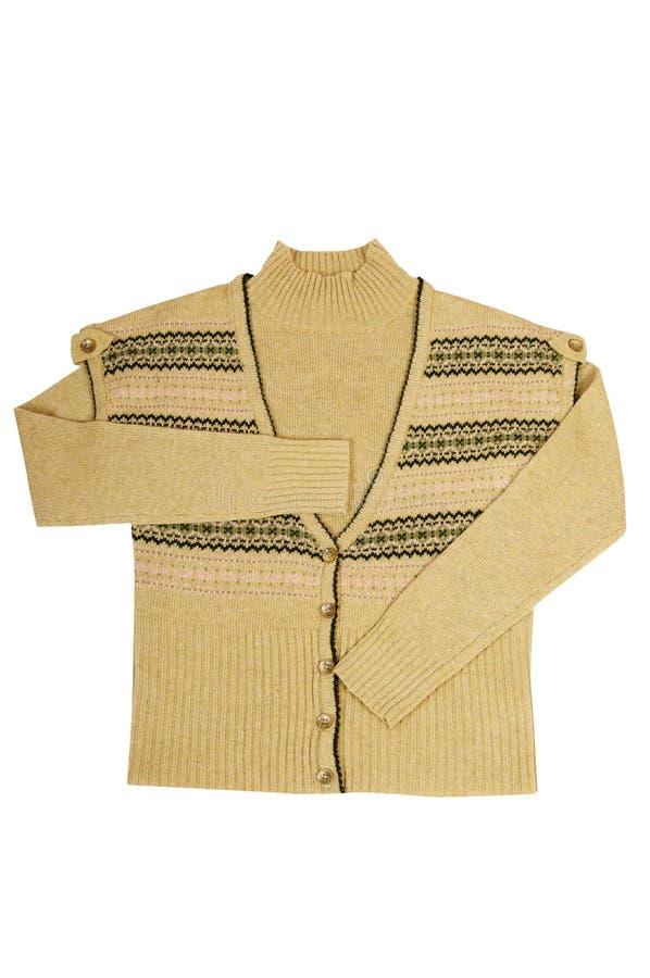 Con estilo caliente el chaleco y el suéter en un blanco. imagen de archivo libre de regalías