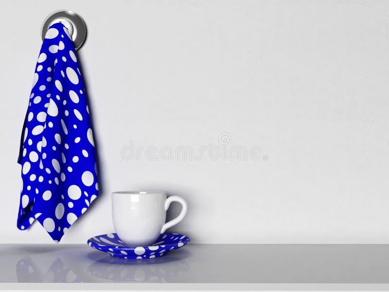 Con i piatti, le tazze e gli asciugamani illustrazione di stock