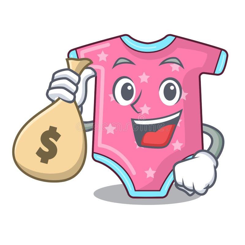 Con i vestiti del bambino del carattere della borsa dei soldi che appendono sulla corda da bucato royalty illustrazione gratis
