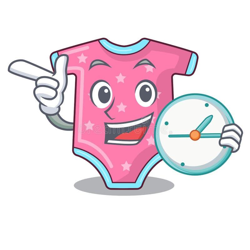 Con i vestiti del bambino del fumetto dell'orologio sullo scaffale del gancio illustrazione di stock