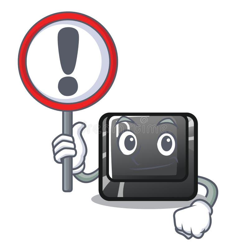 Con il bottone D del segno su una mascotte del computer illustrazione vettoriale