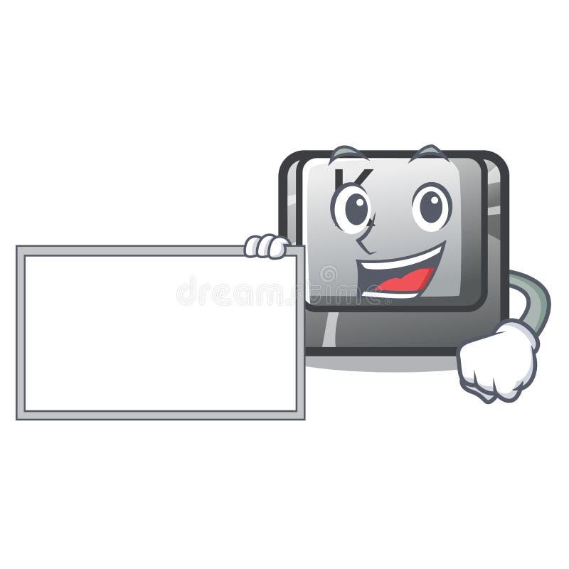 Con il bottone del bordo K ha isolato con la mascotte royalty illustrazione gratis
