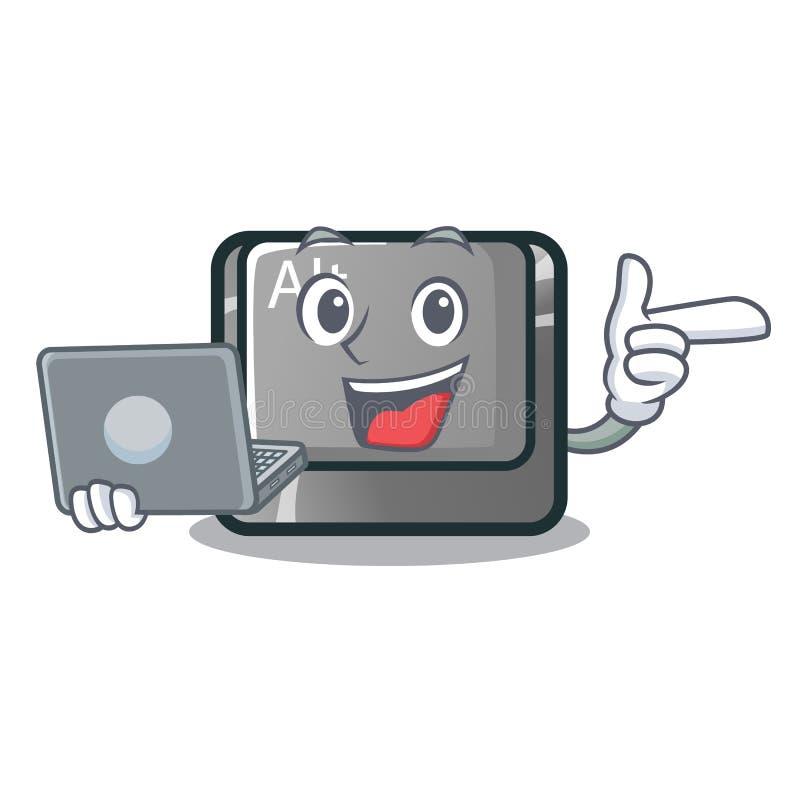 Con il bottone del computer portatile alt nella forma del fumetto illustrazione vettoriale