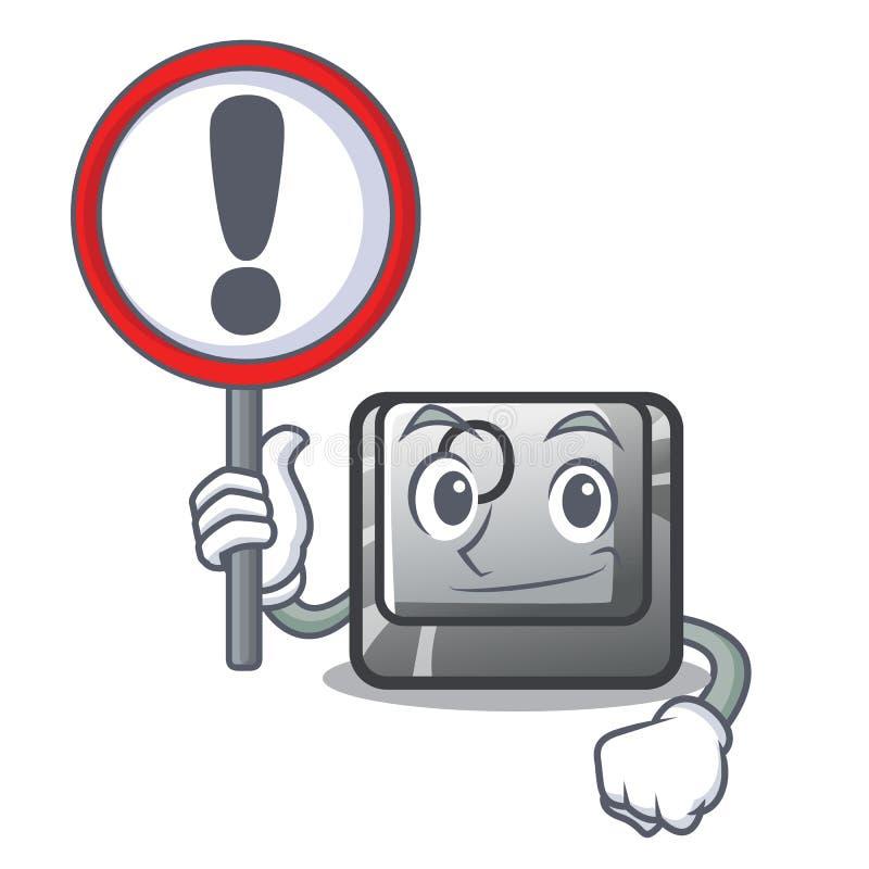 Con il bottone del segno la O ha isolato nel fumetto illustrazione di stock