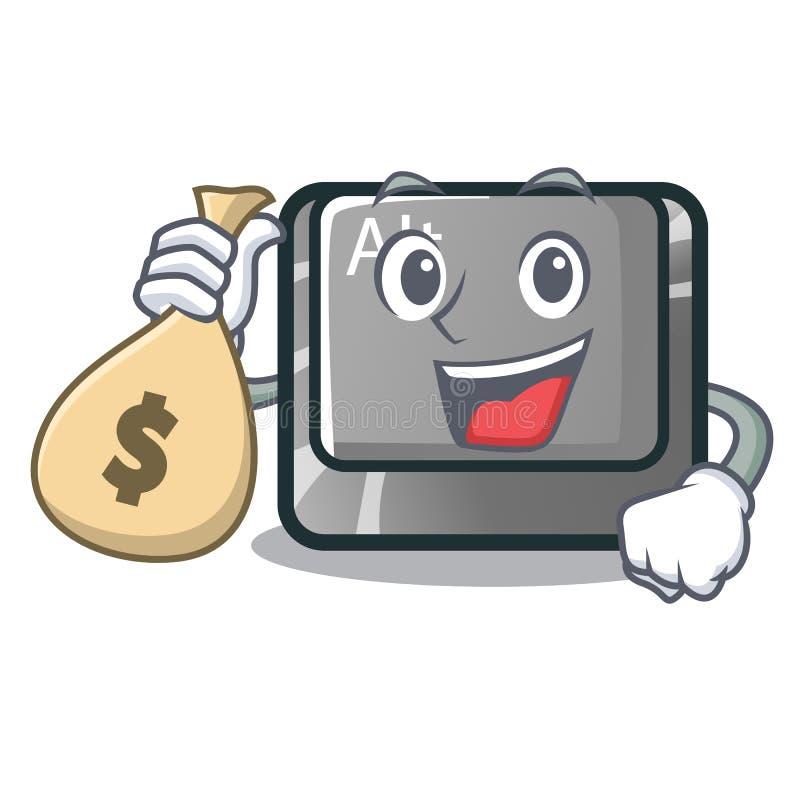 Con il bottone della borsa alt dei soldi nella forma del fumetto royalty illustrazione gratis