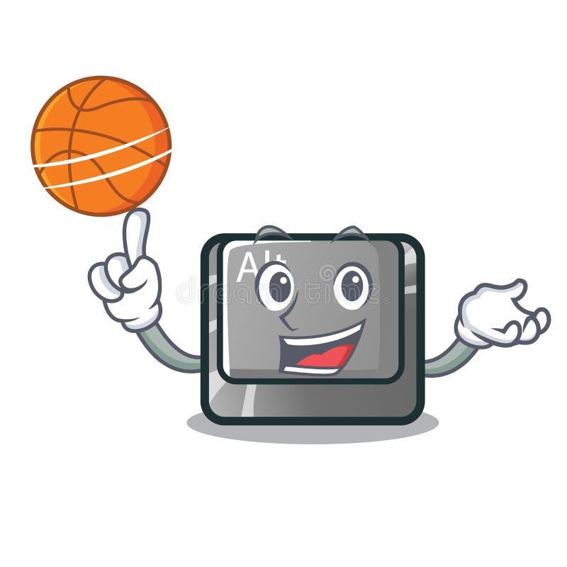 Con il bottone di pallacanestro alt nella forma del fumetto royalty illustrazione gratis