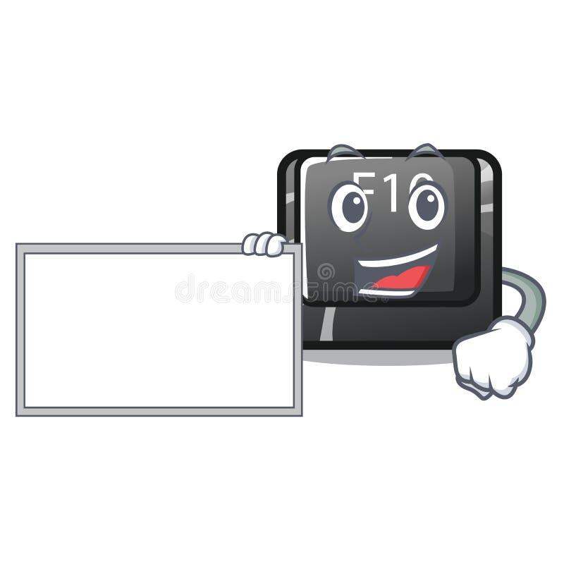 Con il bottone f10 del bordo nella forma della mascotte illustrazione di stock